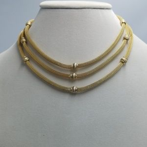 Vintage Layered Gold Tone Mesh Rope & Bead Choker
